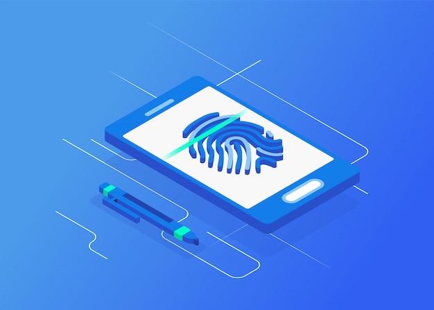 Biometric authentication. flat 3d web isometric  signature