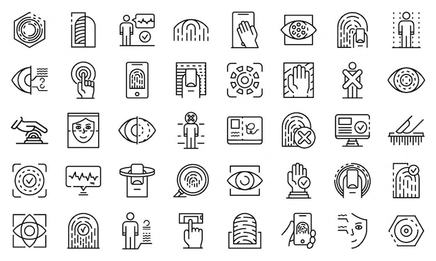 Biometric authentication icons set, outline style