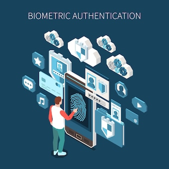 Изометрическая иллюстрация биометрической аутентификации с человеческим персонажем, касающимся смартфона отпечатком пальца, в окружении профильных приложений