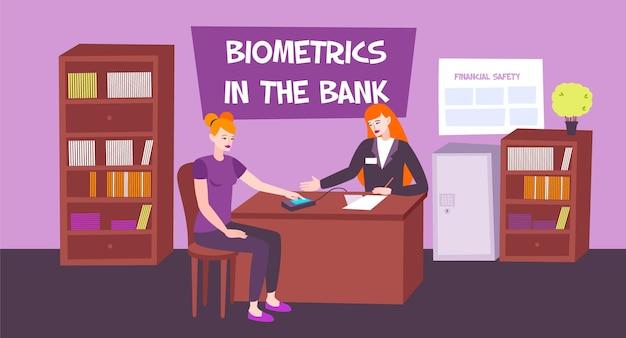 家具とテキスト付きの人間のキャラクターを備えた銀行のオフィスの屋内ビューを備えた生体認証銀行構成