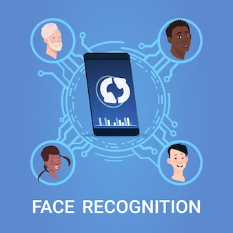 Biometric face scanning recognition system concept modern smart phone access control technology
