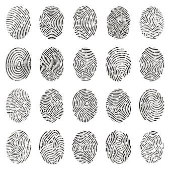 Биометрические отпечатки пальцев. человеческие гранж отдельные отпечатки пальцев, биометрические линии большого пальца и следы рук.
