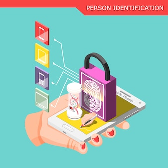 Biometric id isometric composition