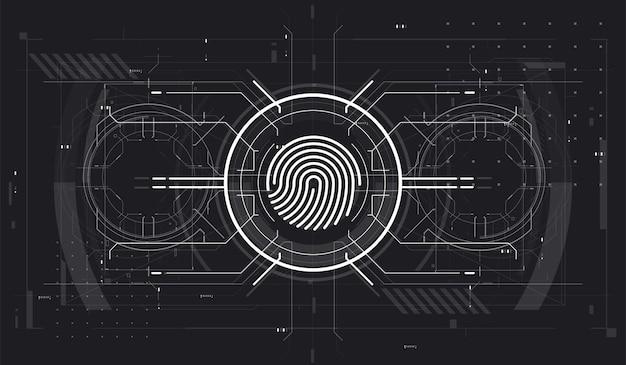 未来的なhudインターフェースを備えた生体認証id。指紋スキャン技術の概念図。識別システムのスキャン。未来的なスタイルのフィンガースキャン。