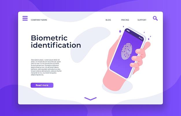 Biometric identification fingerprint landing page template