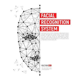 Биометрическая идентификация или концепция системы распознавания лиц. векторная иллюстрация человеческого лица, состоящего из многоугольников, точек и линий с местом для текста, изолированные на белом фоне