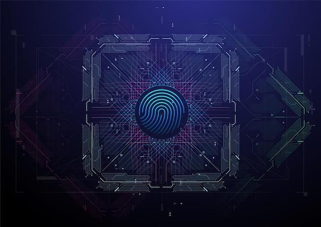 人の生体認証または認識システム。指紋スキャン。仮想指紋