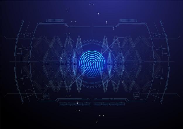 人の生体認証または認識システム。指紋スキャン。