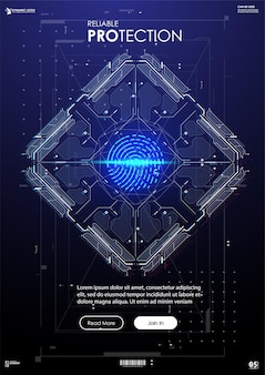 Biometric identification or recognition system of person banner