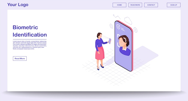 Biometric identification webpage  template with isometric illustration