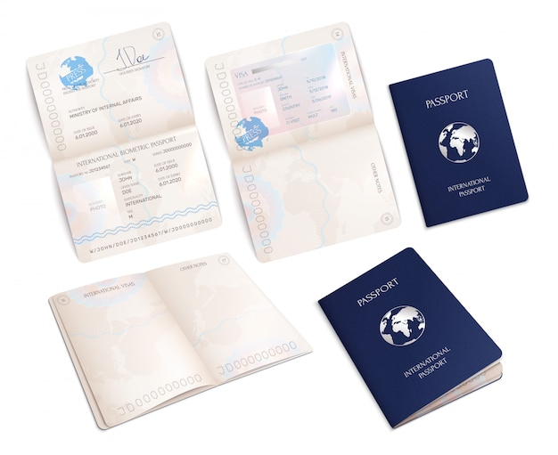 Biometric international passport mockups in open and close forms realistic set isolated