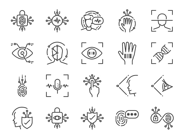 Biometric line icon set.