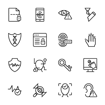 Biometric line icons pack