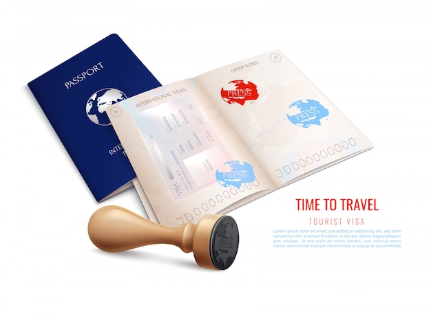 Biometric passport visa stamps realistic with time to travel tourist visa headline  illustration