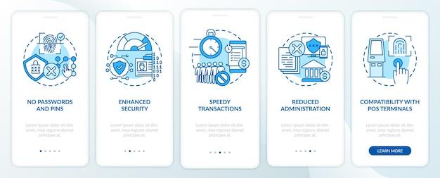 生体認証による支払いは、コンセプトを備えたモバイルアプリページ画面のオンボーディングに役立ちます。ユーザーを特定し、ウォークスルーの5つのステップを承認します。 rgbカラーイラスト付きのuiテンプレート