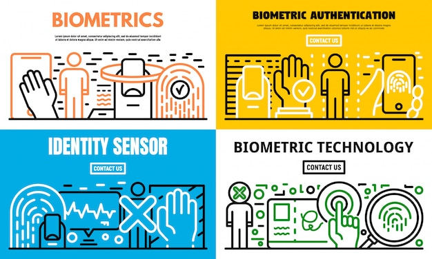 Biometric recognition banner set, outline style