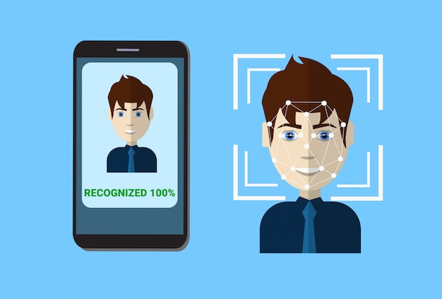Biometric scanning system of control protection smart phone scan user face, facial recognition technology concept