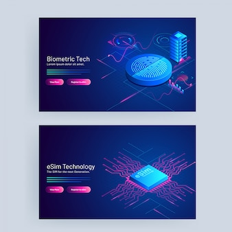 Biometric tech and esim technology concept based web banner design.