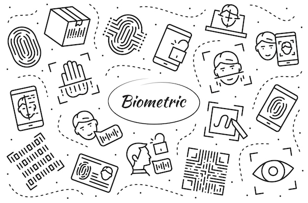 Biometric verification symbols set. collection linear objects of authentication technology in mobile phones, laptops and more.