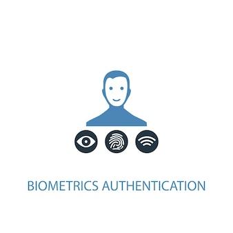 생체 인식 인증 개념 2 컬러 아이콘입니다. 간단한 파란색 요소 그림입니다. 생체 인식 인증 개념 기호 디자인입니다. 웹 및 모바일 ui/ux에 사용 가능