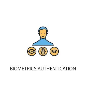 생체 인식 인증 개념 2 컬러 라인 아이콘입니다. 간단한 노란색과 파란색 요소 그림입니다. 생체 인식 인증 개념 개요 기호 디자인