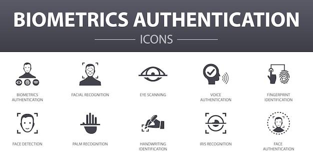 Набор иконок простой концепции аутентификации биометрии. содержит такие значки, как распознавание лиц, распознавание лиц, идентификация отпечатков пальцев, распознавание ладони и многое другое, может использоваться для интернета, логотипа, пользовательского интерфейса / пользовательского интерфейса