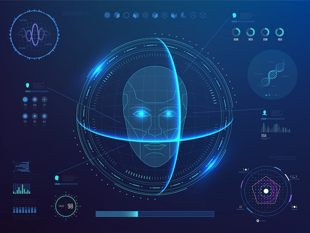 Biometrics digital face scanning, facial recognition software with hud interface, charts, diagram and dna detection data