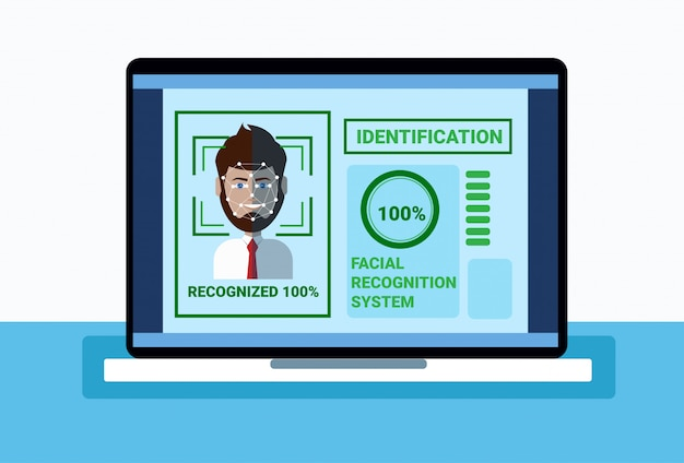 Biometrics system of protection laptop scanning man face, facial recognition concept