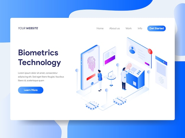 Biometrics technology isometric for website page