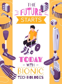 Bionic prosthesis concept isometric composition poster with robotic limbs for specific activities brain controlled eye