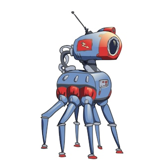 Bionic six-legged robot with a camera in his head.  illustration  on white background.