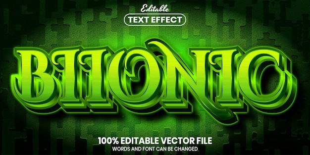 Bionic text, font style editable text effect