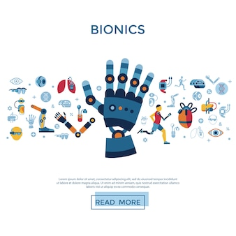 Bionics and artificial intelligence icons collection
