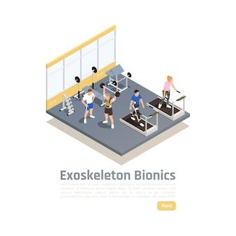 Composizione isometrica della tecnologia bionica con persone disabili in palestra che fanno esercizi usando l'esoscheletro