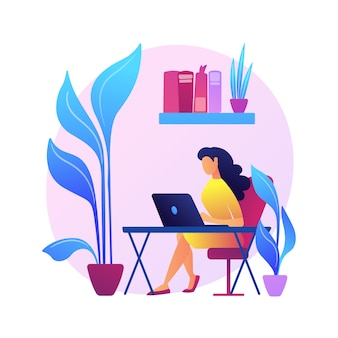 Biophilic design in workspace abstract concept   illustration. biophilic room, eco-friendly workspace, green office design trend, bring outdoors indoors, vertical garden