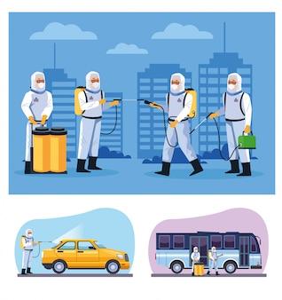 Работники биобезопасности дезинфицируют автобус и такси
