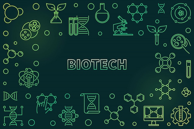 Biotech concept green illustration in thin line style