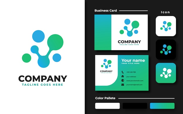 Biotech logo template and business card