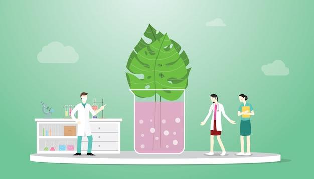 医師研究コンセプトとバイオテクノロジー植物葉技術分析