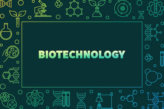Biotechnolgy vector colorful horizontal frame or illustration in outline style on dark background