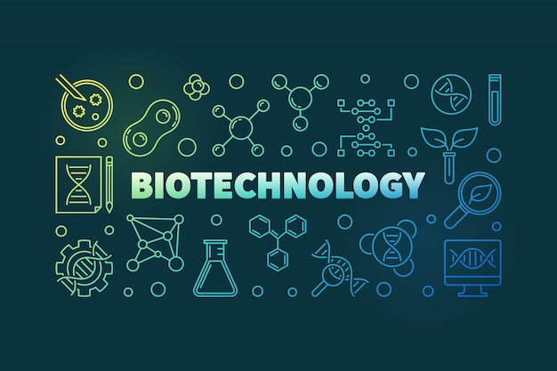 Biotechnolgy vector colorful outline banner