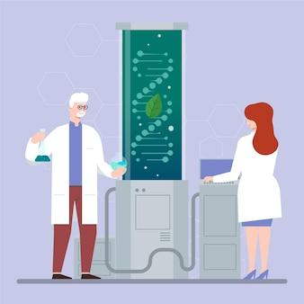 Design piatto del concetto di biotecnologia