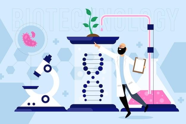 Плоский дизайн концепции биотехнологии