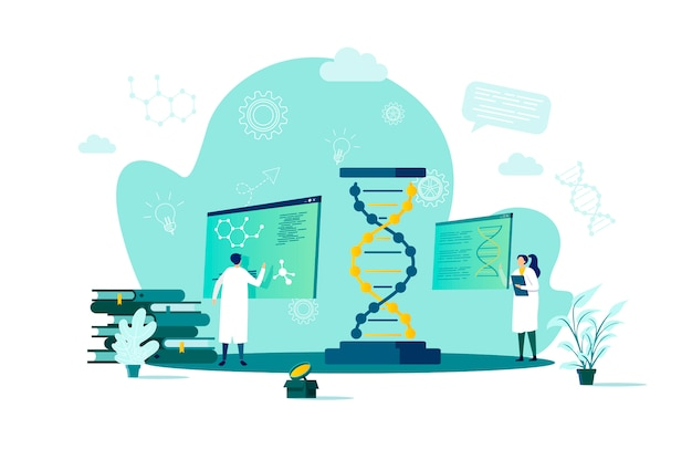 Концепция биотехнологии в стиле с персонажами людей в ситуации