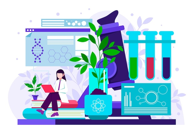 Biotechnology concept with researcher