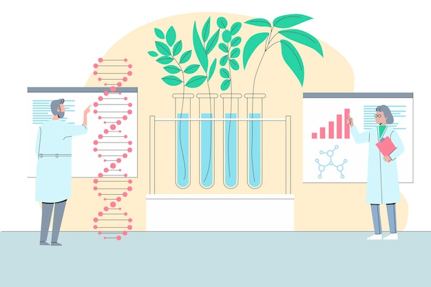 Biotechnology concept with scientists
