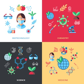 Biotechnology icons collection