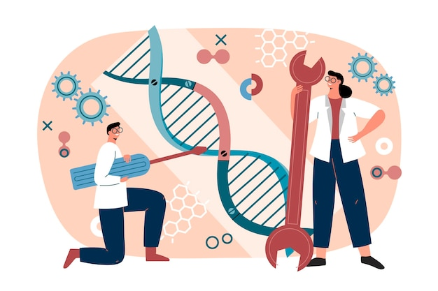 Biotechnology illustration with dna