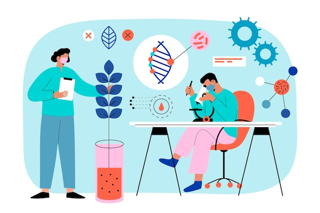 Biotechnology illustration with scientist
