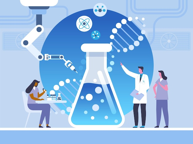 Biotechnology, lab study flat vector illustration. scientist and assistants cartoon characters